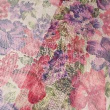 Pink and Purple Floral Print on Ivory Sinamay